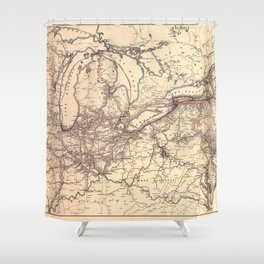 New York Central & Hudson River Railroad Map (1900) Shower Curtain