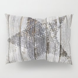 Grunge Star on old weathered grey wood Pillow Sham