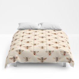 Vintage Bee Illustration Pattern Comforters