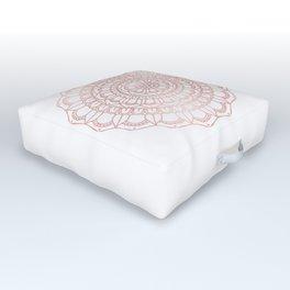 Rose Gold Boho Mandala Outdoor Floor Cushion