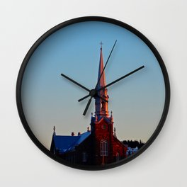 Church at sunset Wall Clock