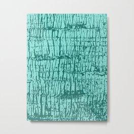 Palm Tree Texture Turquoise Metal Print