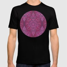 Magenta, Pink & Coral Protea Doodle Pattern Black MEDIUM Mens Fitted Tee