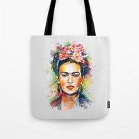 frida Tote Bags featuring Frida Kahlo by Tracie Andrews