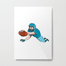 American Football Player Touchdown Drawing Metal Print