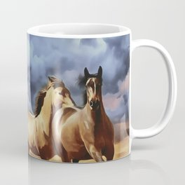 Wild horses running on a beach digital painting, Brown horses Stormy sunset clouds, Coffee Mug