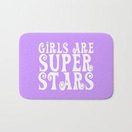 Girls are Super Stars - Purple Bath Mat