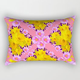 Coral Color Yellow Daffodils & Roses Pattern Art Rectangular Pillow