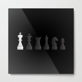 All black one white chess pieces Metal Print