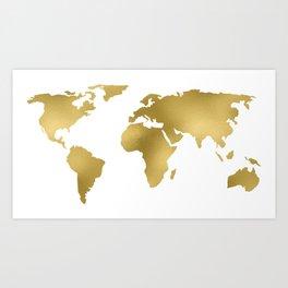 Gold Foil Map - Metallic Globe Design Art Print