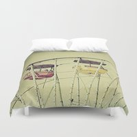 ferris wheel Duvet Covers featuring Ferris Wheel by whimsy canvas