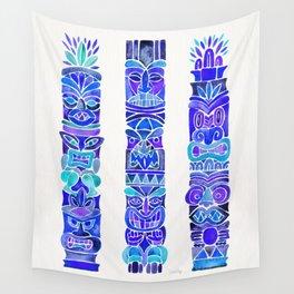 Tiki Totems – Indigo Palette Wall Tapestry