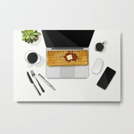 Waffle Laptop Computer Flat Lay Metal Print