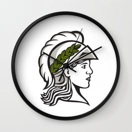Minerva Head Side Profile Retro Wall Clock