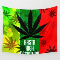 rasta Wall Tapestries featuring Rasta Real High Definition 420 by insitemyhead