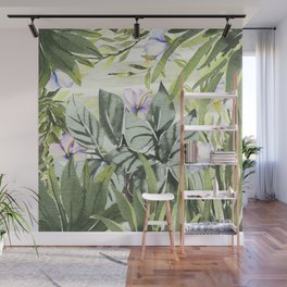 Tropical  lavender forest green watercolor floral Wall Mural