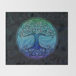 Tree of Life - Cool Blue Throw Blanket