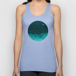 Starry Ocean, teal sailboat watercolor sea waves night Unisex Tank Top
