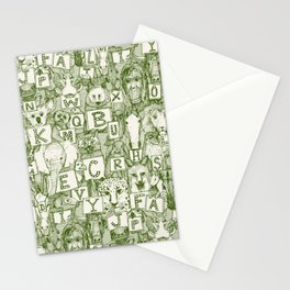 animal ABC green ivory Stationery Cards