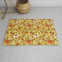 1970s Hippy/Flower Power Yellow, Orange & Brown Pattern Rug