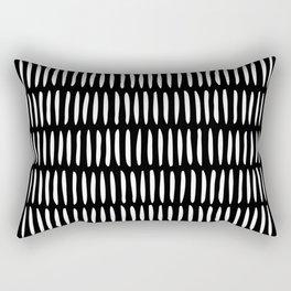 Classy Handpainted Stripes Pattern Black, Scandinavian Design Rectangular Pillow