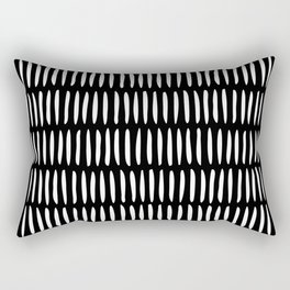 Classy Handpainted Stripes Pattern Black, Scandinavian Design Rectangular Pillow