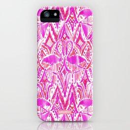HEY FLAMINGO Pink Watercolor Tribal iPhone Case