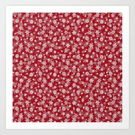 Christmas Cranberry Red Jelly Snow Flakes Art Print