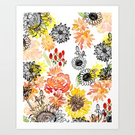 Autumn Florals Art Print