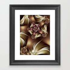 Abiding Fractal Spiral in Brown, White and Pink Framed Art Print