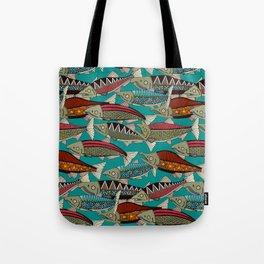 Alaskan salmon teal Tote Bag