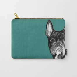 French Bulldog. Teal  Carry-All Pouch