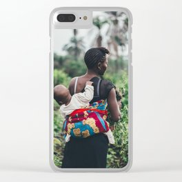 WOMAN - CHILD - FIELD - PHOTOGRAPHY - NATURE Clear iPhone Case