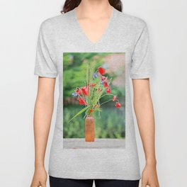 Bunch of of red poppies, cornflowers and ears of barley, wheat and rye on the table. Unisex V-Neck