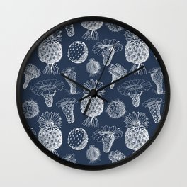 Cactus Flowers White Wall Clock