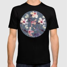Butterflies and Hibiscus Flowers - a painted pattern Mens Fitted Tee LARGE Black