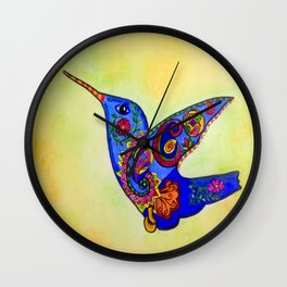 humming bird in color with green-yellow back ground Wall Clock