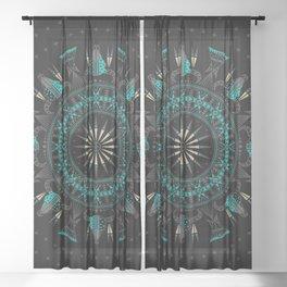 Buffalo Skull and Feathers (Aqua) Sheer Curtain
