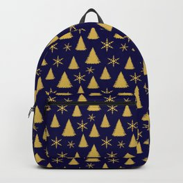 Blue and Gold Christmas Tree Pattern Backpack