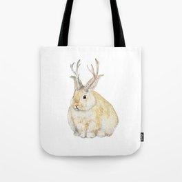 Watercolor Grumpy Jackalope Antler Bunny Tote Bag