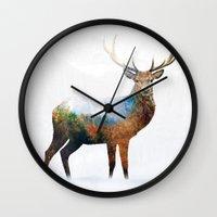 deer Wall Clocks featuring deer by mark ashkenazi