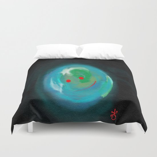 Smiling Planet Duvet Cover