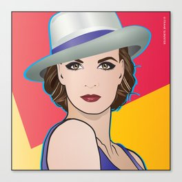 Beautiful Pop Art Woman Ingrid with Hat Canvas Print
