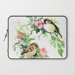 Sparrows and Apple Blossom, spring floral bird art Laptop Sleeve