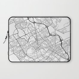 Waterloo Map, Canada - Black and White Laptop Sleeve