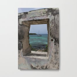 Sailboat in a Window Metal Print