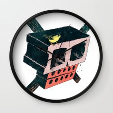 Brick Crossbones and a Bird Wall Clock