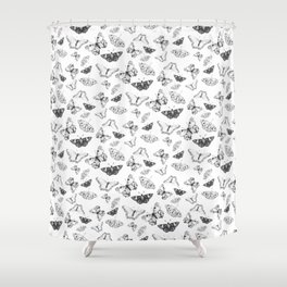 Butterflies, Moths, Black and White Pattern Shower Curtain