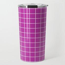 Byzantine - violet color - White Lines Grid Pattern Travel Mug
