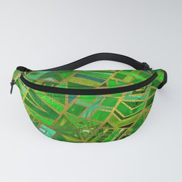 Geometric  Green and Gold African Tribal Pattern Fanny Pack
